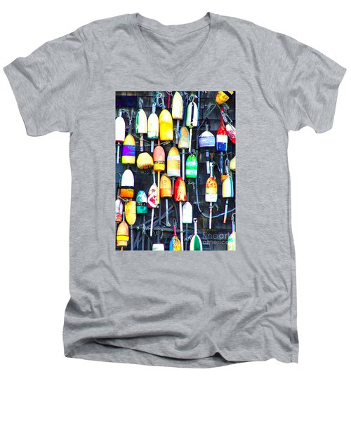 Men's V-Neck T-Shirt featuring the photograph Buoy Art by Bill Holkham