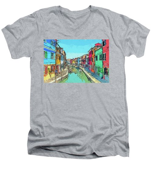 Burano Sketch Men's V-Neck T-Shirt