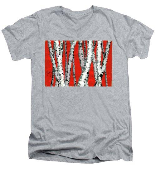 Burch On Red Men's V-Neck T-Shirt by P J Lewis