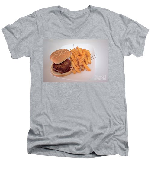 Men's V-Neck T-Shirt featuring the photograph Burger And Fries by Anne Rodkin