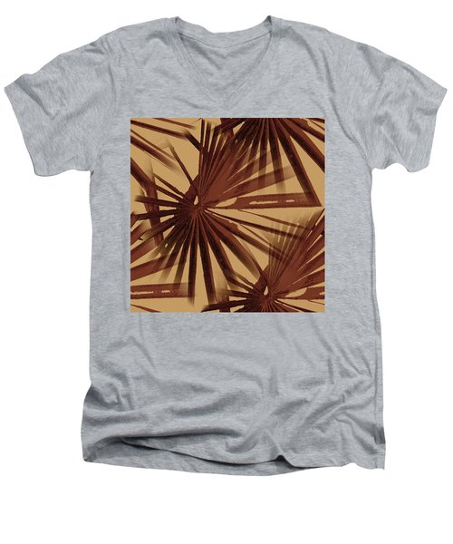 Burgundy And Coffee Tropical Beach Palm Vector Men's V-Neck T-Shirt