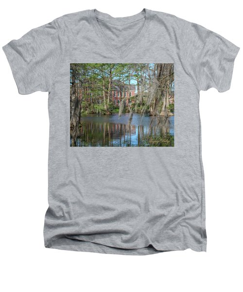 Men's V-Neck T-Shirt featuring the photograph Burke Hall Cypress Lake by Gregory Daley  PPSA