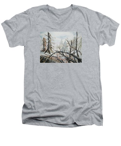 Men's V-Neck T-Shirt featuring the painting Burned Forest In The Snow by Ellen Levinson