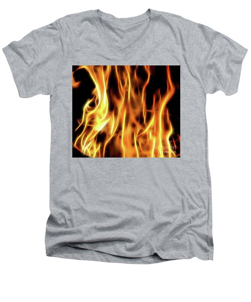 Burning Flames Fractal Men's V-Neck T-Shirt
