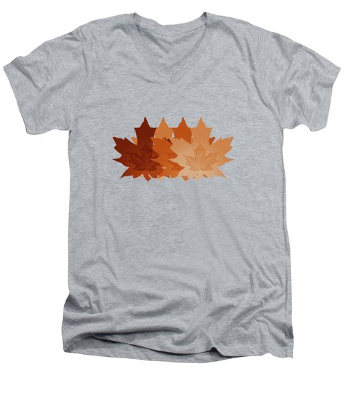 Men's V-Neck T-Shirt featuring the digital art Burnt Sienna Autumn Leaves by Methune Hively