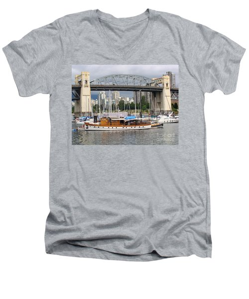 Men's V-Neck T-Shirt featuring the painting Burrard Street Bridge, Vancouver by Rod Jellison