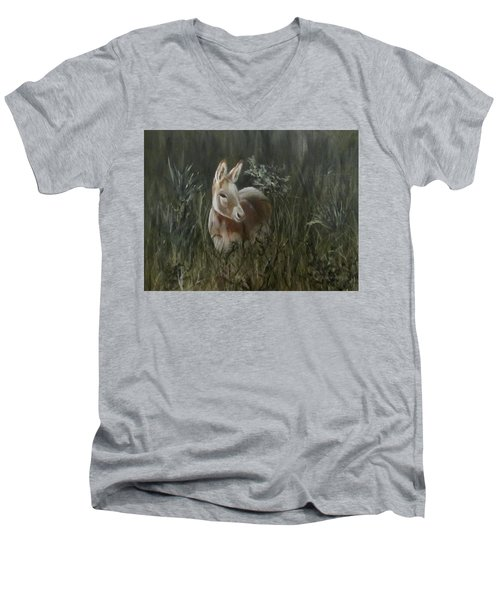 Men's V-Neck T-Shirt featuring the painting Burro In The Wild by Roseann Gilmore