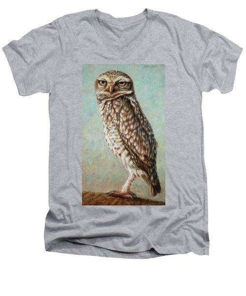 Burrowing Owl Men's V-Neck T-Shirt by James W Johnson