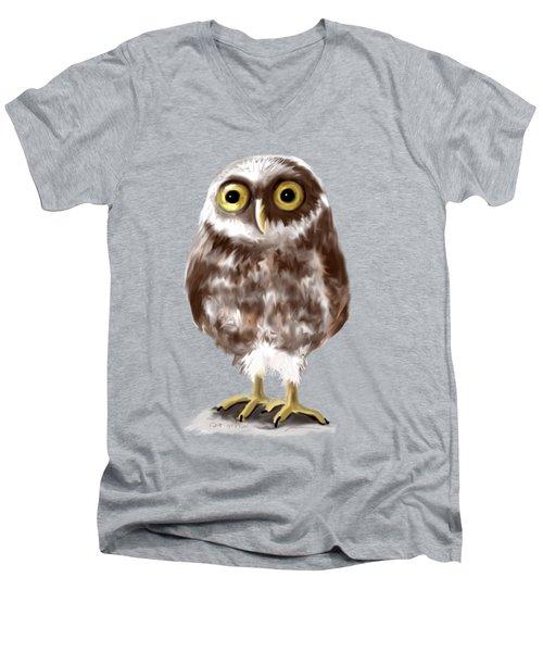 Burrowing Owl Men's V-Neck T-Shirt by Jean Pacheco Ravinski