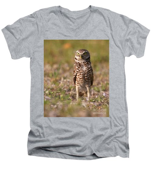 Men's V-Neck T-Shirt featuring the photograph Burrowing Owl Standing Tall by Myrna Bradshaw
