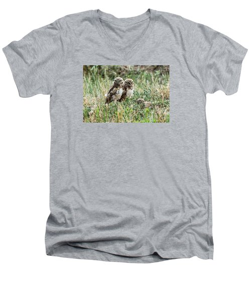 Men's V-Neck T-Shirt featuring the photograph Burrowing Owlets Near Barr Lake by Stephen  Johnson