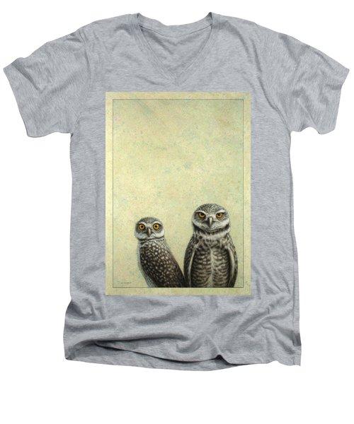 Burrowing Owls Men's V-Neck T-Shirt by James W Johnson