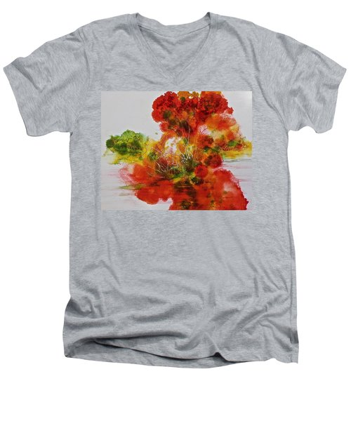 Men's V-Neck T-Shirt featuring the painting Burst Of Nature, II by Carolyn Rosenberger