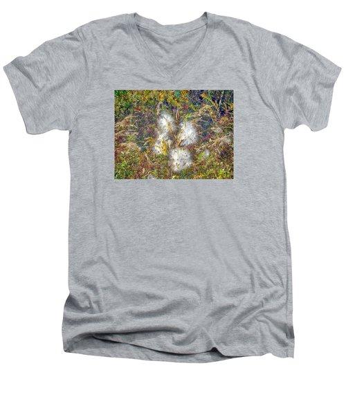 Bursting Milkweed Seed Pods Men's V-Neck T-Shirt by Constantine Gregory