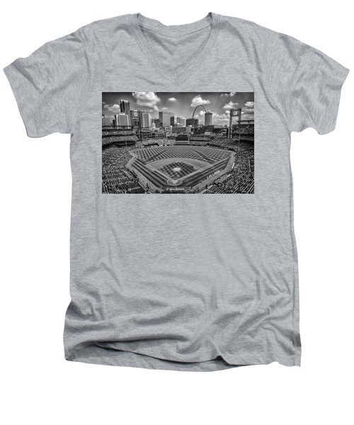 Busch Stadium St. Louis Cardinals Black White Ballpark Village Men's V-Neck T-Shirt by David Haskett