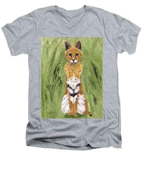 Men's V-Neck T-Shirt featuring the painting Bush Cat by Jamie Frier
