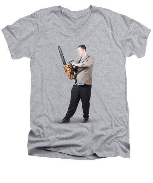 Men's V-Neck T-Shirt featuring the photograph Businessman Holding Portable Chainsaw by Jorgo Photography - Wall Art Gallery