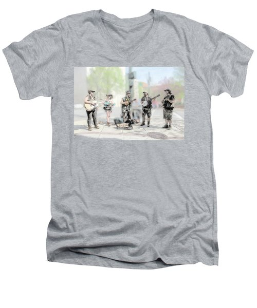 Busker Quintet Men's V-Neck T-Shirt by John Haldane