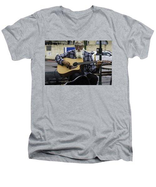 Busking In New Orleans, Louisiana Men's V-Neck T-Shirt