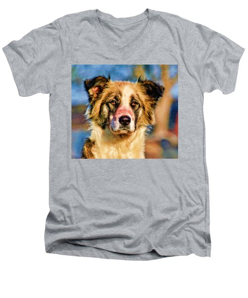 Buster Dog Viewing The Sunset Men's V-Neck T-Shirt by Lucky Chen