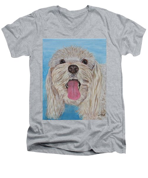 Men's V-Neck T-Shirt featuring the painting Buster by Nancy Nale