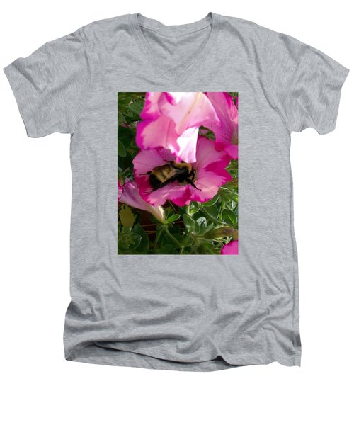 Busy Bumble Bee Men's V-Neck T-Shirt by Sharon Duguay