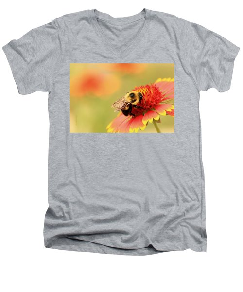 Men's V-Neck T-Shirt featuring the photograph Busy Bumblebee by Chris Berry