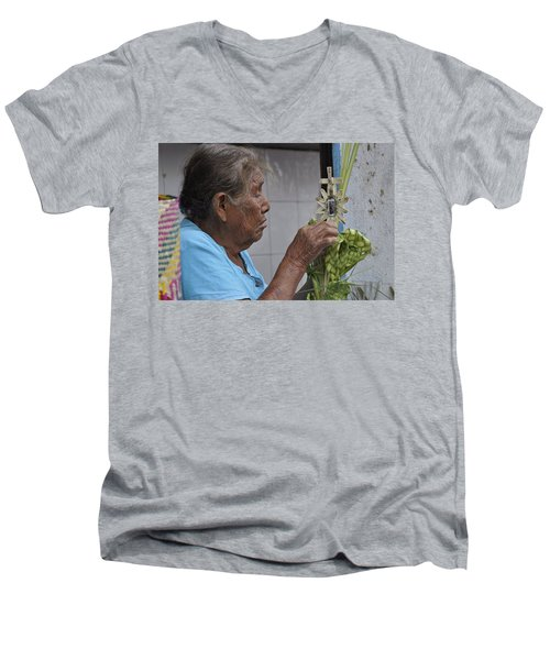 Men's V-Neck T-Shirt featuring the photograph Busy Hands by Jim Walls PhotoArtist