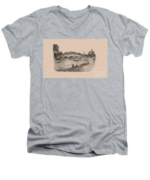 Busy Richmond Bridge And Fishermen Men's V-Neck T-Shirt