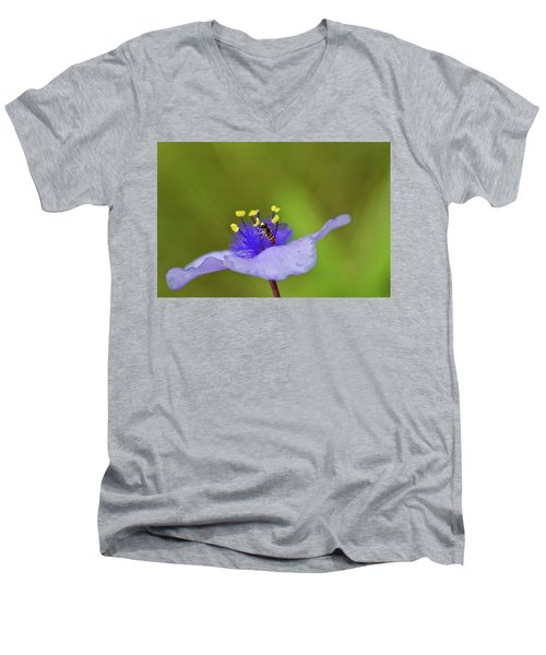 Men's V-Neck T-Shirt featuring the photograph Busy Visitor - Syrphid Fly On Spiderwort by Jane Eleanor Nicholas