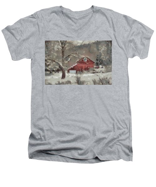 Men's V-Neck T-Shirt featuring the mixed media Butter Lane by Trish Tritz
