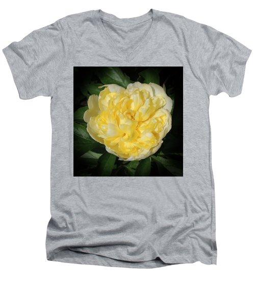 Buttercream Peony Men's V-Neck T-Shirt by Teresa Schomig