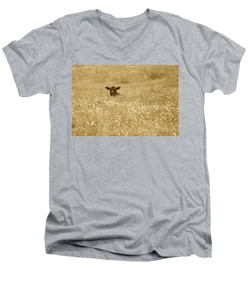 Buttercup In Sepia Men's V-Neck T-Shirt