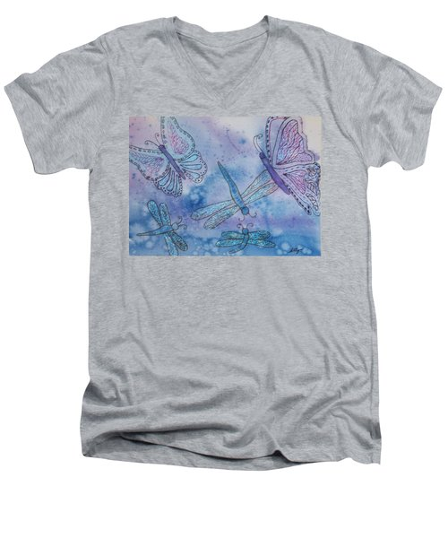 Men's V-Neck T-Shirt featuring the painting Butterflies And Dragonflies by Ellen Levinson