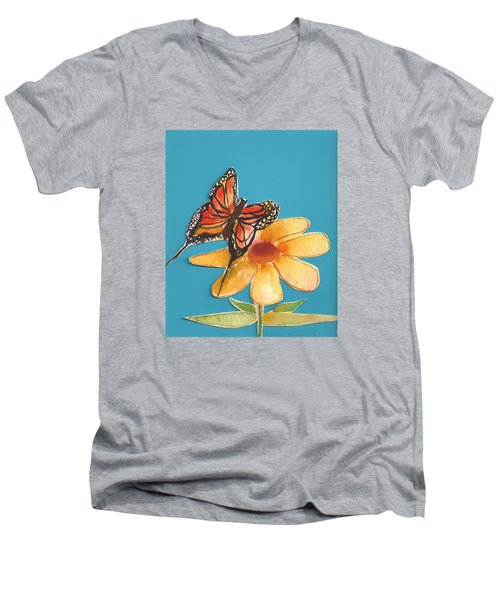 Men's V-Neck T-Shirt featuring the painting Butterflower by Denise Fulmer
