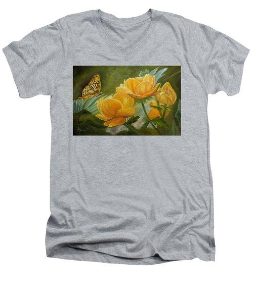 Butterfly Among Yellow Flowers Men's V-Neck T-Shirt