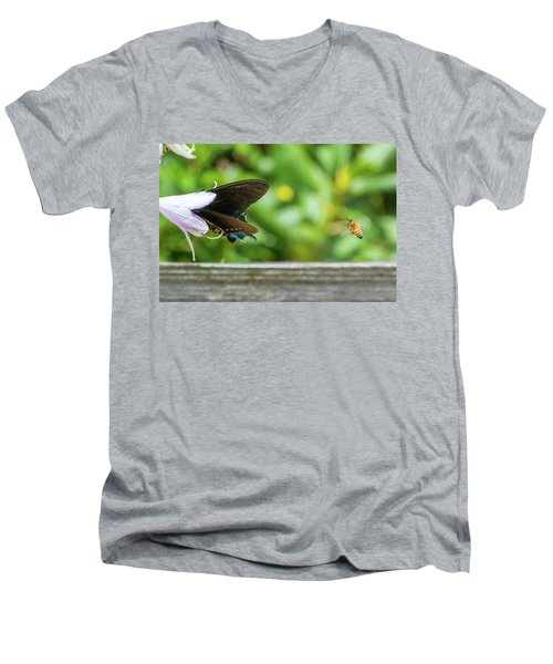 Butterfly And Bee Men's V-Neck T-Shirt