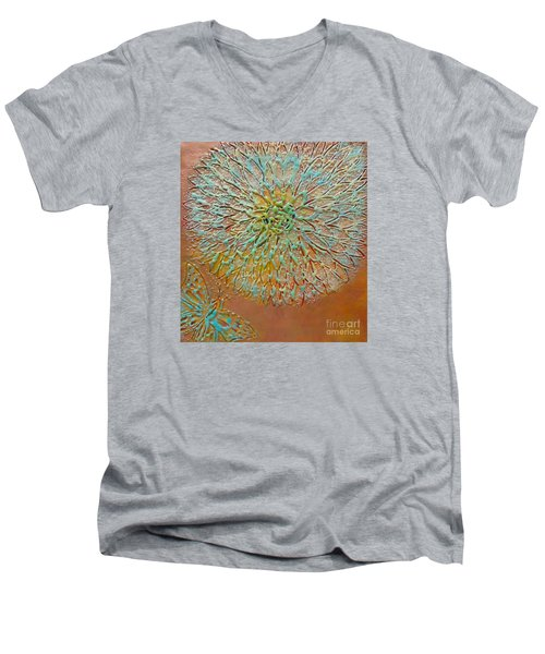 Butterfly And Flower Happy Men's V-Neck T-Shirt