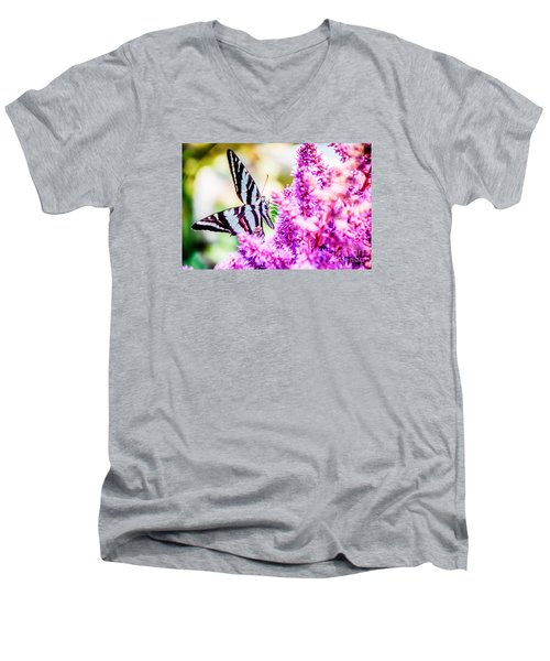 Butterfly Beautiful  Men's V-Neck T-Shirt by Peggy Franz
