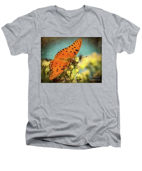 Butterfly Enjoying The Nectar Men's V-Neck T-Shirt by Scott and Dixie Wiley