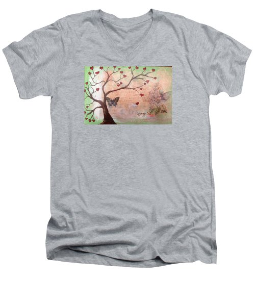 Butterfly Fairy Heart Tree Men's V-Neck T-Shirt by Roxy Rich