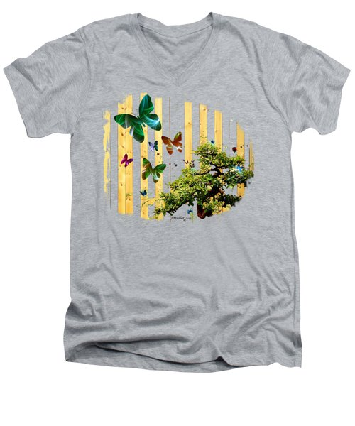 Butterfly Garden Men's V-Neck T-Shirt by Jennifer Muller