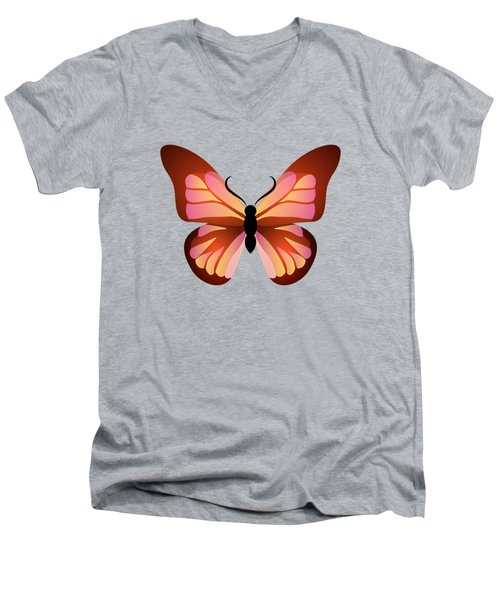 Butterfly Graphic Pink And Orange Men's V-Neck T-Shirt