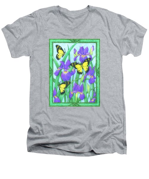 Butterfly Idyll-irises Men's V-Neck T-Shirt