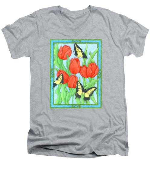 Butterfly Idyll-tulips Men's V-Neck T-Shirt