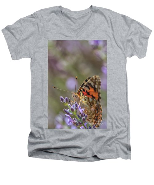 Men's V-Neck T-Shirt featuring the photograph Butterfly In Close Up by Patricia Hofmeester