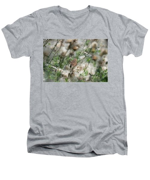 Butterfly In Puffy Seed Heads Men's V-Neck T-Shirt