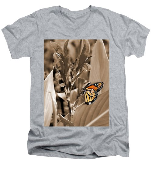 Butterfly In Sepia Men's V-Neck T-Shirt by Lauren Radke