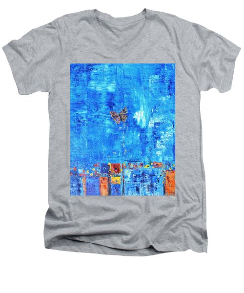 Butterfly In The Wind Men's V-Neck T-Shirt