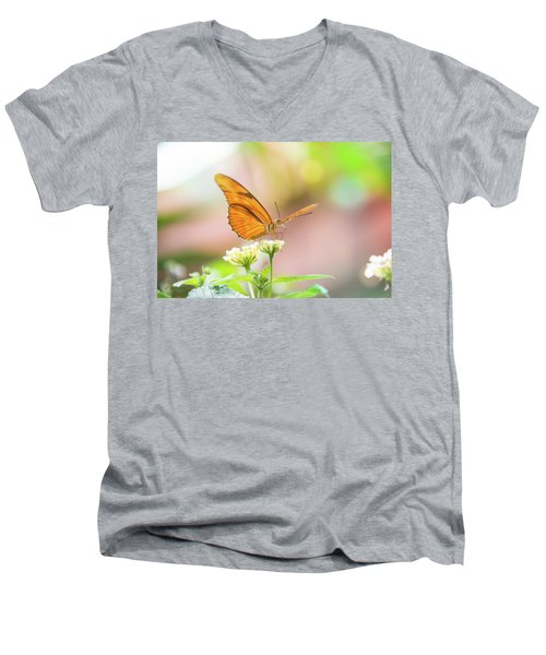 Butterfly - Julie Heliconian Men's V-Neck T-Shirt by Pamela Williams